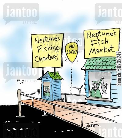 piers cartoon humor: Fishing charter and fish market cover the fish market.
