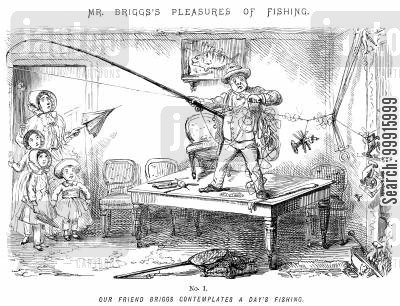 inept cartoon humor: Mr Briggs's sPleasures of Fishing - No. I