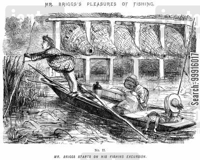 anglers cartoon humor: Mr Briggs's Pleasures of Fishing - No. II