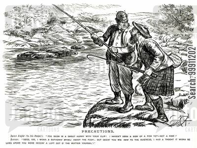 game keeper cartoon humor: Keeper ready to save fishing man from the water