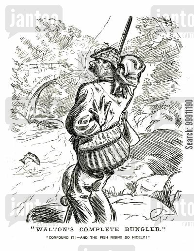 bungler cartoon humor: Fisherman caught on his own hook