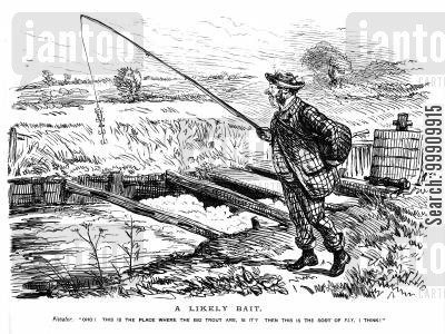 leisures cartoon humor: Man fishing with large bait