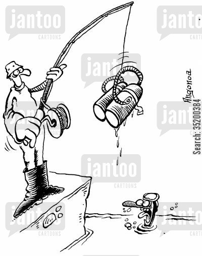 air tank cartoon humor: Fisherman catches pair of air tanks while diver looks half drowned