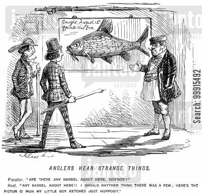 big fish cartoon humor: Anglers being shown a giant catch