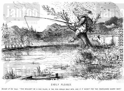 outdoors cartoon humor: Man fishing whilst sitting on a wasps' nest