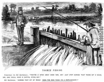 river thames cartoon humor: Thames fishing