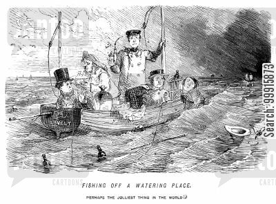 rowing boats cartoon humor: Fishing off a watering place. - Perhaps the jolliest thing in the world