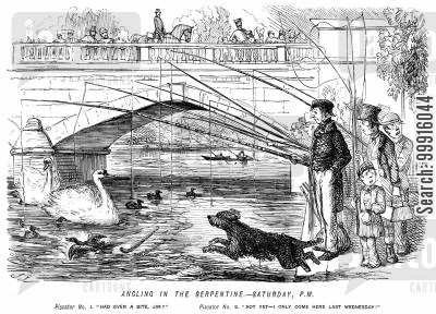 hyde park cartoon humor: Angling in the Serpentine