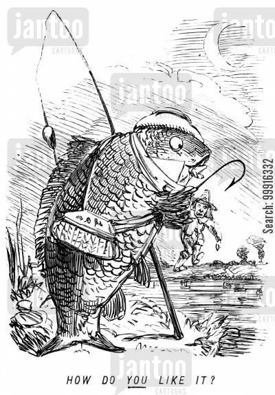 reversed cartoon humor: How do YOU like it? - A fish catching a man.