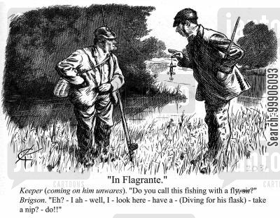 groundskeeper cartoon humor: Fishing without a license.