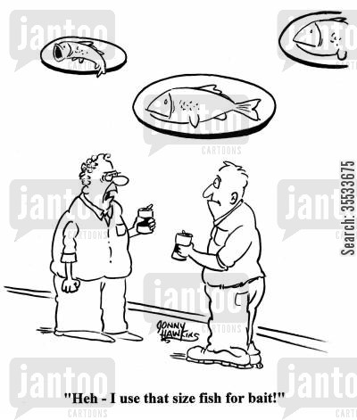fish stories cartoon humor: Man to other about fish on wall: Heh - I use that size fish for bait!'