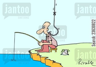 fish hook cartoon humor: Fisherman being caught.
