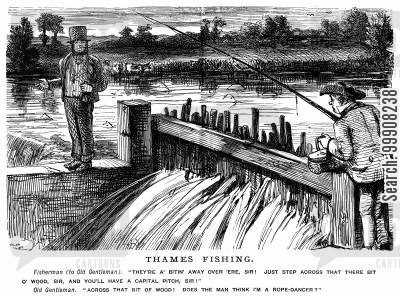 rope dancer cartoon humor: Thames Fishing.