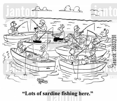 fishing spot cartoon humor: Fisherman to other man re: boats everywhere: 'Lots of sardine fishing here.'