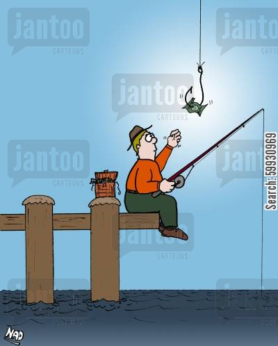 temptation cartoon humor: A man is fishing and a large hook descends from the sky with money as bait.