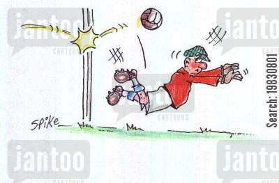 goal keepers cartoon humor: Off the post!