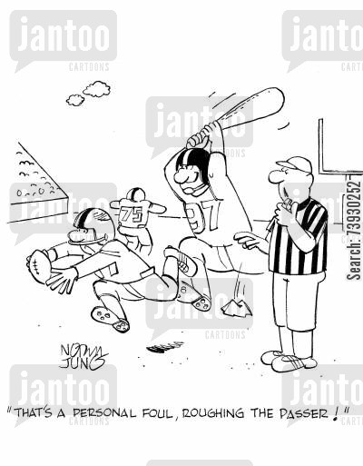 refs cartoon humor: 'That's a personal foul, roughing the passer!'