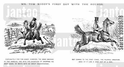 wild horse cartoon humor: Mr Tom Noddy's First Day With the Hounds Pt. 3