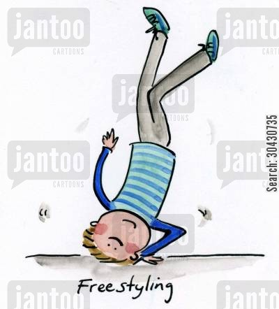 break dancing cartoon humor: Freestyling.