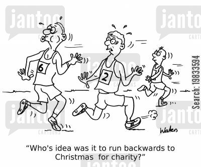 joggers cartoon humor: 'Who's idea was it to run backwards to Christmas for charity?'