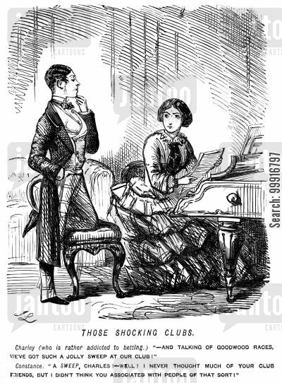 lower classes cartoon humor: Man states that he has a sweepstake at his club but his wife thinks he means someone who is a sweep