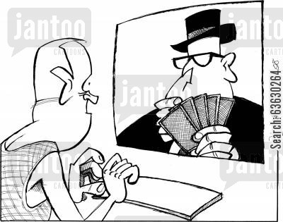 poker cartoon humor: Net poker - who are you up against?