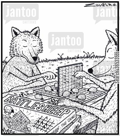board game cartoon humor: Wolves playing Battlesheep.