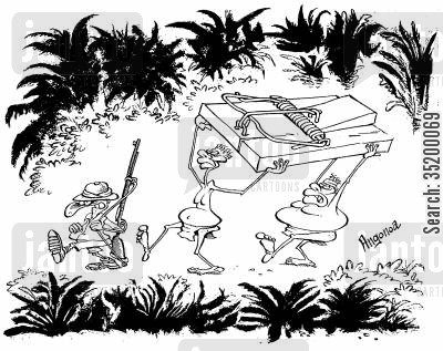 mouse trap cartoon humor: Big game hunter with big mouse trap