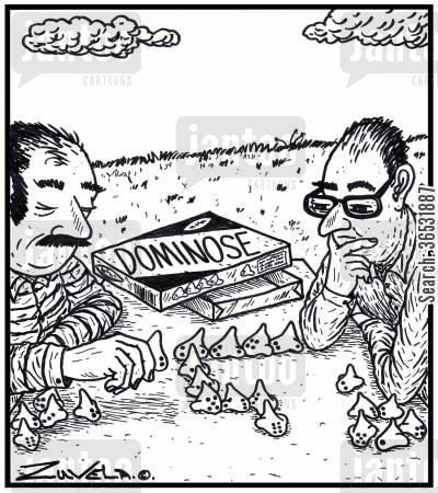 playing games cartoon humor: Two men playing a game of Dominose. The game pieces are in the form of noses.