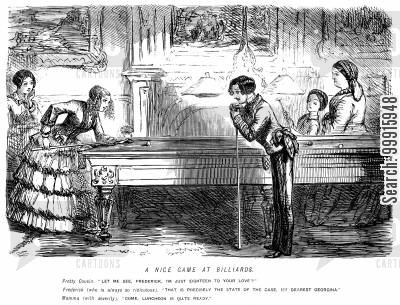 billiards table cartoon humor: Young man and young lady talking flirtatiously over a game of billiards