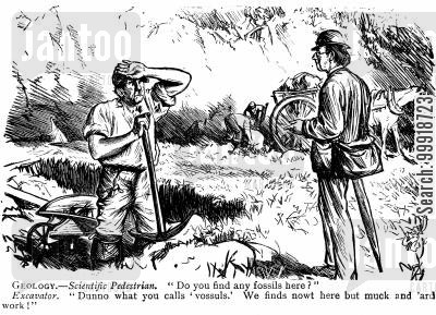 victorian interest cartoon humor: Geology.