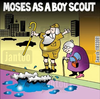 help out cartoon humor: Moses as a boy scout.