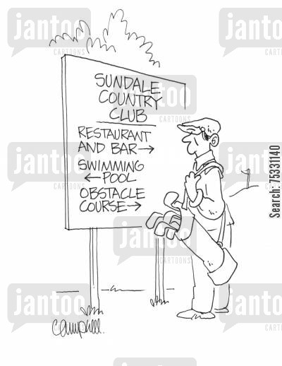 country clubs cartoon humor: Golfer reads club sign pointing to restaurant, swimming pool, obstacle course.