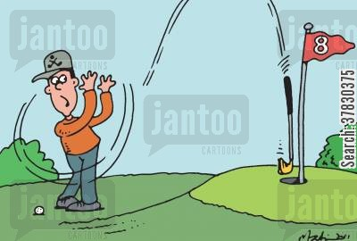 pros cartoon humor: Slippery hand golfer