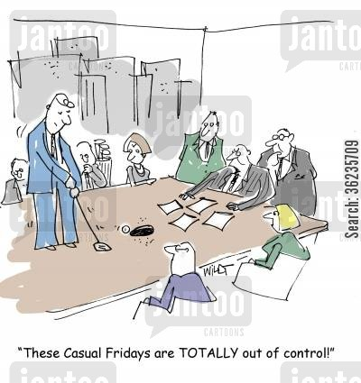 meeting rooms cartoon humor: These casual Friday are TOTALLY out of control.