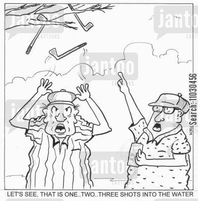 golf swings cartoon humor: Let's see, that is one..two..three shots into the water.