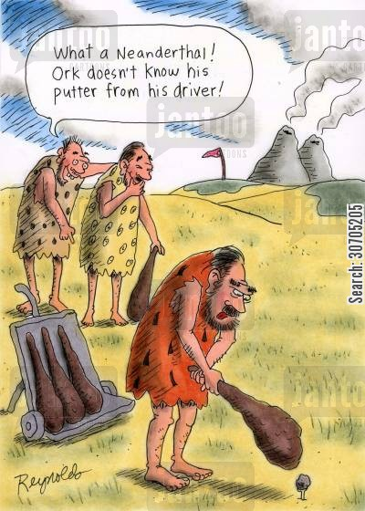 sports cartoon humor: 'What a Neanderthal! Ork doesn't know his putter from his driver.'