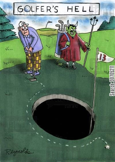 damned cartoon humor: Golfer's Hell.
