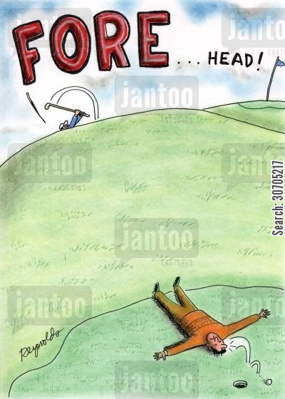golf clothes cartoon humor: FORE . . . Head!