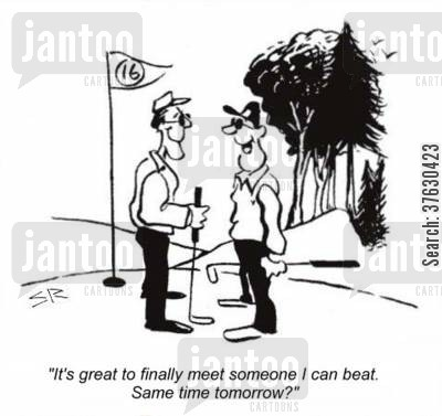 golf green cartoon humor: 'It's great to finally meet someone I can beat. Same time tomorrow?'