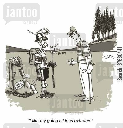 golfball cartoon humor: 'I like my golf a bit less extreme,'