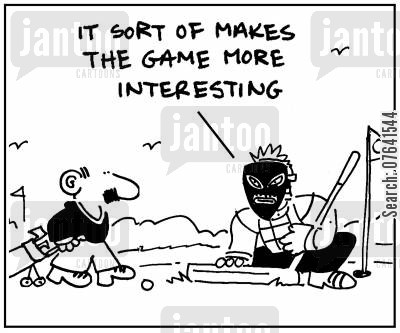golf instructor cartoon humor: 'It sort of makes the game more interesting.'
