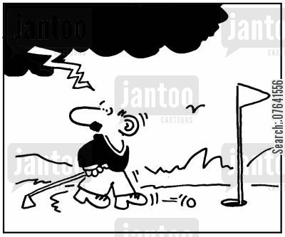 golf instructor cartoon humor: 'Lightning strikes.'