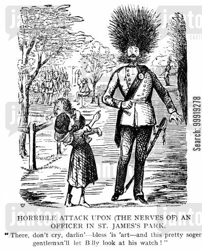 victorian soldier cartoon humor: Horrible Attack Upon An Officer in St.James's Park.