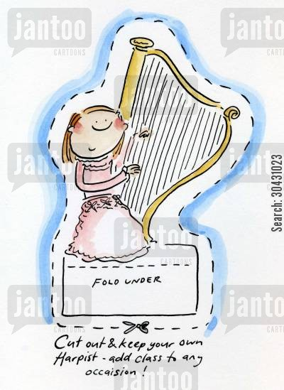 playing harp cartoon humor: Cut out and keep your own Harpist.