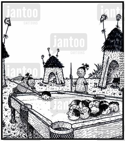 missionary cartoon humor: CannibalsHeadhunters playing a game of Pool on a billiards table using Explorers and Missionaries heads for Pool balls