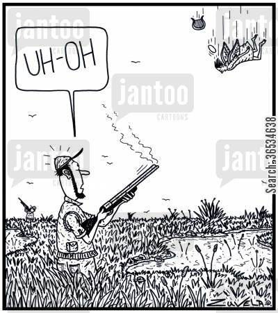 redneck cartoon humor: Duck hunter: 'UH-OH' A Duck hunter has accidentally shot down an Angel