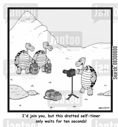 self-timing camera cartoon humor: I'd join you, but this dratted self-timer only waits for ten seconds!