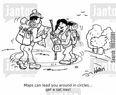 sat nav cartoon humor: Maps can lead you around in circles... get a sat nav!