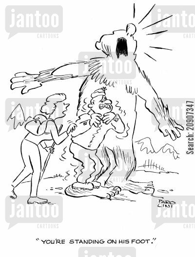 hiked cartoon humor: 'You're standing on his foot.'